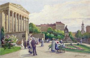 Magyar Nemzeti Múzeum - Hans Götzinger vízfestménye